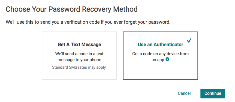 Password recovery method by authenticator